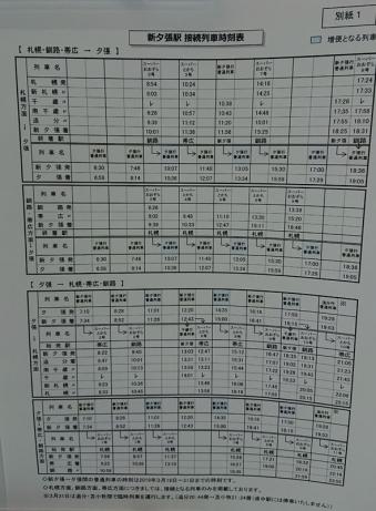 夕張方面の接続列車時刻表