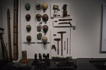 炭鉱の用具の展示